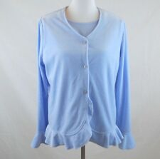 Hanna Andersson Womens Twin Set Sz L Velvet Top Set Blue Short Sleeve Button Up