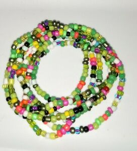 Glass Seedbead 6 - 8 wrap/layer stretch bracelet with multi bright colors.