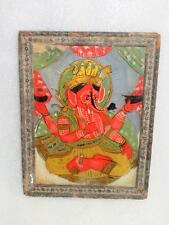 Antique Old Rare Artist Fine Oil Glass Painting Of Hindu Lord Ganesha With Frame