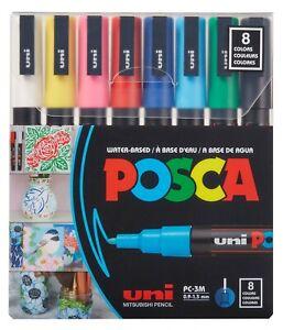 Uni Posca Paint Marker 1.3mm Fine Tip Pen (PC-3M) - Set of 8 Colours