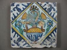 polychrome Antique Dutch tile palmette flower 17th century- free shipping