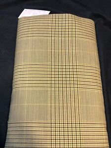 "Vintage Wool Fabric Glen Plaid  42"" x 60"" Wide (Feels Like Linen) NEW OLD STOCK"