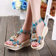 Women Boho Wedge Sandals Beaded Platform Roman Ethnic Style Holiday Shoes Casual