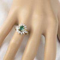 2.50 Ct Green Emerald & Diamond Cluster Engagement Ring 14k Yellow Gold Finish