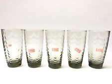 Libbey Glassware Vintage Olive Green Scalopped Glasses-Set Of 5-Stickers On