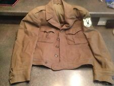 Vintage Olive Green Military Jacket/Coat w/Edgerton Bowhunters Patch 36R Club