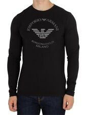 Emporio Armani Borgonuovo Long sleeve Black T shirt Chest Logo E.A. size M*L*XL