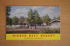 Rare HIDDEN REST RESORT Lakeside Arizona Information Card Price Guide C1970'S