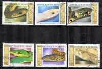 Animales Serpientes Benin (30) serie completo 6 sellos matasellados