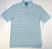 Polo Ralph Lauren Polo Shirt XL 18 20 Boy's Blue Stripe Short Sleeve O61