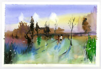 "Original Watercolor Painting 9 x 6"" After the Rain Abstract Not ACEO"