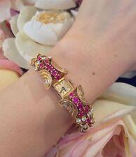 Vintage French Retro Style 18K Rose Gold Ruby Diamond Bracelet Watch - HM1347