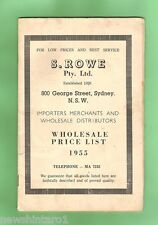 #D74.  1955  WHOLESALE PRICE LIST FOR S. ROWE P/L OF SYDNEY, IMPORTERS