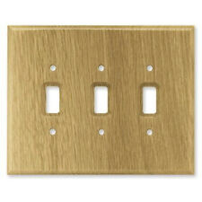 126430 Medium Oak Wood Triple Switch Outlet Cover Wall Plate