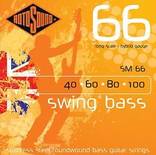 ROTOSOUND SM66 ROUNDWOUND STAINLESS STEEL BASS GUITAR STRINGS 40-100