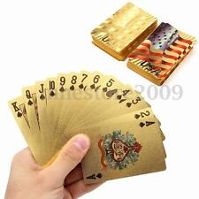 Gold Foil Coated Plastic Playing Cards Poker Table Games USA National Flag Style