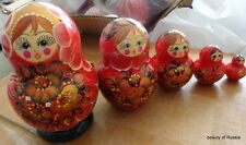 Red and flowers Russian Nesting Doll 5 Pcs Large 5.0* #3