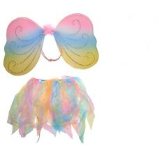 Rainbow Fairy Wing and Tutu Set For Kid Girls Real Little Princess