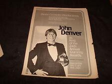 JOHN DENVER 1982 Grammy Award ad as host holding award