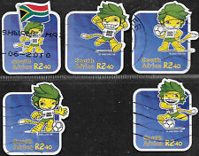 SOUTH AFRICA 2010 WORLD CUP SOCCER COMPLETE POSTALLY USED Sc#1405-9 0094