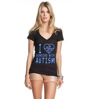 I Love Someone With Autism Women's V-Neck T-shirt Autism Awareness Month Tee