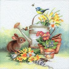4 Vintage Paper Napkins for Decoupage Lunch Party  Easter Family Bunny Art E12