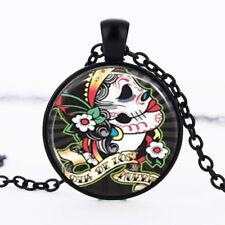 Skull Black Dome Glass Cabochon Necklace chain Pendant #182