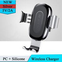 Silber 10W Wireless Charger Auto Air Outlet Telefon Halterung Halter erweiterbar