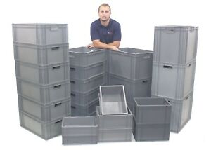 NEW Stacking Heavy Duty Commercial Type Plastic Euro Storage Box Boxes 25 Sizes