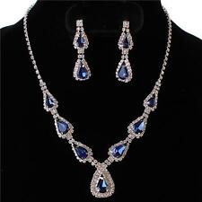 Formal Wedding Evening Party Sapphire Blue Crystal Teardrop Costume Necklace Set