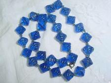 Art Deco Czech Electric Blue Art Glass Gablonz  Knotted  16.50 Necklace    #1745