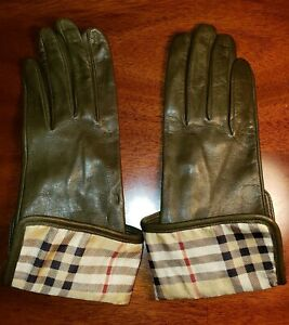 AUTHENTIC BURBERRY LONDON OLIVE GREEN LEATHER & NOVACHECK GLOVES SIZE 7