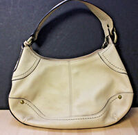 FOSSIL Key 75082 Beige Leather Hobo Satchel Shoulder Bag Handbag Purse