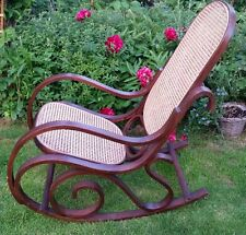 ROCKING CHAIR Victoria Bentwood WOOD CRAFTED RATTAN BACK WOVEN CANE SEAT CLASSIC