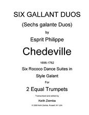 Trumpet Duets 6 Gallant Duos by Chedeville  Rococo 28 pp  6 Dance Suites  NEW