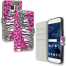 For Samsung Galaxy S7 Design Wallet Cute Flip Case Pink Leopard Zebra