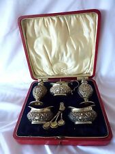 Antique English Sterling Silver Salt Set 8 Cellars Spoons Box John Gilbert & Co