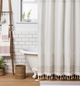 Shower Curtain Hearth & Hand Magnolia Farmhouse Fringe Embroidered Taupe Cream