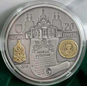 YAROSLAV The WISE Kyiv Prince Ukraine 20 UAH 2019 Silver 2 Oz Local Gilding Coin