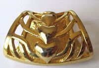 serre passe foulard  bijou vintage couleur or décor relief coeur 336