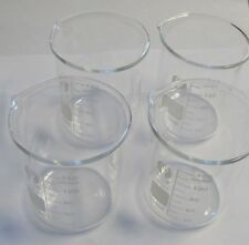 Set of 4 glass lab beaker low form 150 ml 5 oz shot New