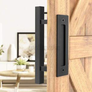 "12"" Stainless Steel Sliding Barn Wood Door Handle Simplicity black Hardware Set"