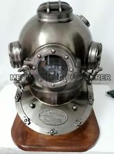 "Latón Boston Marine Buceo casco para buzos Us Navy Mark V Latón 18"" con base"