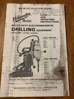 Milwaukee Electromagnetic Drill Care And Operating Instructions