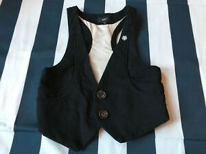 🔥Obey Vest Black Two Button XS XSmall Women 100% Cotton Cute Skaterboard 🔥