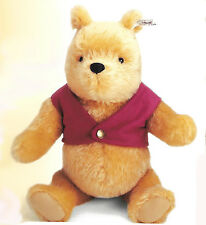 """STEIFF """"WINNIE THE POOH"""" EAN 651489  9"""" MOHAIR POOH WITH RED JACKET  2000"""