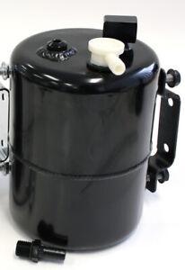 "Aeroflow Brake Vacuum Tank Black Alloy 3/8"" Barb Fittings Bracket Inc"