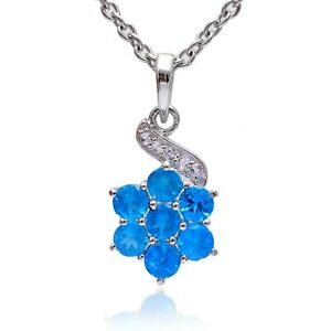 Natural Neon Apatite 925 Sterling Silver AAA+ Flower Pendant Necklace Jewelry