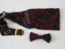 Mens Vintage BLACK w/ RED SWIRLS Clip On BOW TIE & Matching CUMBERBUND 100% Silk