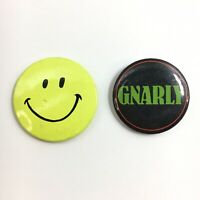 Vintage 1980s SMILEY FACE & GNARLY Pins Buttons Creative House Thought Factory